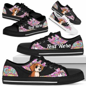 LTS-U-Dog-LovePeaceNa013-Beagle-5@undefined-Beagle Dog Lovers Hippie Tennis Shoes Gym Low Top Shoes Gift Men Women. Dog Mom Dog Dad Custom Shoes.