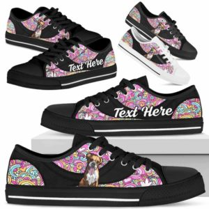 LTS-U-Dog-LovePeaceNa013-Boxer-9@undefined-Boxer Dog Lovers Hippie Tennis Shoes Gym Low Top Shoes Gift Men Women. Dog Mom Dog Dad Custom Shoes.