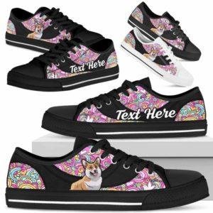 LTS-U-Dog-LovePeaceNa013-Corgi-18@undefined-Corgi Dog Lovers Hippie Tennis Shoes Gym Low Top Shoes Gift Men Women. Dog Mom Dog Dad Custom Shoes.