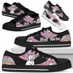 LTS-U-Dog-LovePeaceNa013-Westie-62@undefined-Westie Dog Lovers Hippie Tennis Shoes Gym Low Top Shoes Gift Men Women. Dog Mom Dog Dad Custom Shoes. West Highland White Terrier