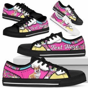 LTS-U-Dog-LovenPeaceNa013-Corgi-18@undefined-Corgi Dog Lovers Hippie Tennis Shoes Gym Low Top Shoes Gift Men Women. Dog Mom Dog Dad Custom Shoes.