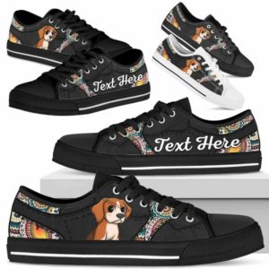 LTS-U-Dog-MandalaNa023-Beagle-5@undefined-Beagle Dog Lovers Mandala Tennis Shoes Gym Low Top Shoes Gift Men Women. Dog Mom Dog Dad Custom Shoes.