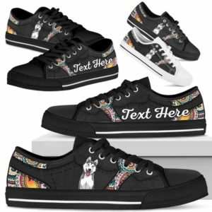 LTS-U-Dog-MandalaNa023-Husky-36@undefined-Husky Dog Lovers Mandala Tennis Shoes Gym Low Top Shoes Gift Men Women. Dog Mom Dog Dad Custom Shoes.
