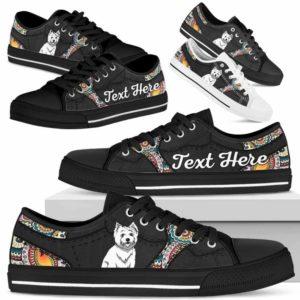 LTS-U-Dog-MandalaNa023-Westie-62@undefined-Westie Dog Lovers Mandala Tennis Shoes Gym Low Top Shoes Gift Men Women. Dog Mom Dog Dad Custom Shoes. West Highland White Terrier