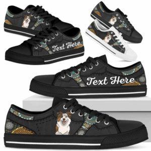 LTS-U-Dog-MandalaNa033-Aussie-0@undefined-Aussie Dog Lovers Mandala Tennis Shoes Gym Low Top Shoes Gift Men Women. Dog Mom Dog Dad Custom Shoes. Australian Shepherd