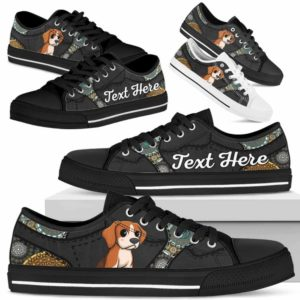 LTS-U-Dog-MandalaNa033-Beagle-5@undefined-Beagle Dog Lovers Mandala Tennis Shoes Gym Low Top Shoes Gift Men Women. Dog Mom Dog Dad Custom Shoes.