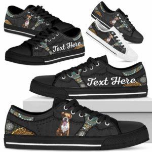 LTS-U-Dog-MandalaNa033-Boxer-9@undefined-Boxer Dog Lovers Mandala Tennis Shoes Gym Low Top Shoes Gift Men Women. Dog Mom Dog Dad Custom Shoes.
