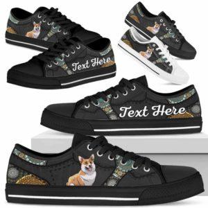 LTS-U-Dog-MandalaNa033-Corgi-18@undefined-Corgi Dog Lovers Mandala Tennis Shoes Gym Low Top Shoes Gift Men Women. Dog Mom Dog Dad Custom Shoes.