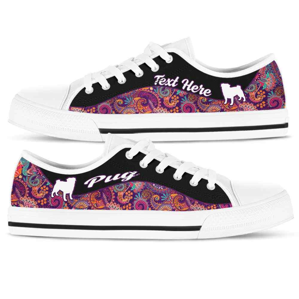 LTS-U-Dog-Paisley02NaSportline10-Pug-19@undefined-Pug Dog Lovers Paisley Tennis Shoes Gym Low Top Shoes Gift Men Women. Dog Mom Dog Dad Custom Shoes.