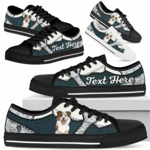 LTS-U-Dog-PaisleyNa013-Aussie-0@undefined-Aussie Dog Lovers Paisley Tennis Shoes Gym Low Top Shoes Gift Men Women. Dog Mom Dog Dad Custom Shoes. Australian Shepherd