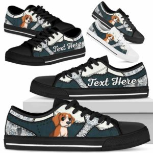 LTS-U-Dog-PaisleyNa013-Beagle-5@undefined-Beagle Dog Lovers Paisley Tennis Shoes Gym Low Top Shoes Gift Men Women. Dog Mom Dog Dad Custom Shoes.