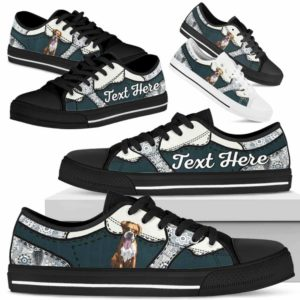 LTS-U-Dog-PaisleyNa013-Boxer-9@undefined-Boxer Dog Lovers Paisley Tennis Shoes Gym Low Top Shoes Gift Men Women. Dog Mom Dog Dad Custom Shoes.