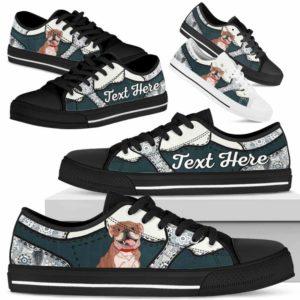 LTS-U-Dog-PaisleyNa013-Bulldog-14@undefined-Bulldog Dog Lovers Paisley Tennis Shoes Gym Low Top Shoes Gift Men Women. Dog Mom Dog Dad Custom Shoes.