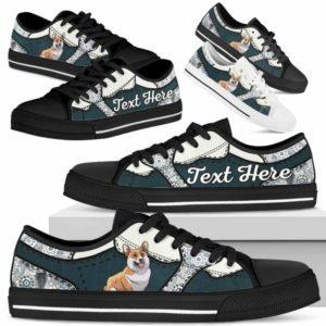 LTS-U-Dog-PaisleyNa013-Corgi-18@undefined-Corgi Dog Lovers Paisley Tennis Shoes Gym Low Top Shoes Gift Men Women. Dog Mom Dog Dad Custom Shoes.