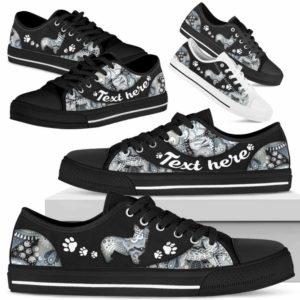 LTS-U-Dog-PaisleyNa013-Corgi-8@undefined-Corgi Dog Lovers Paisley Tennis Shoes Gym Low Top Shoes Gift Men Women. Dog Mom Dog Dad Custom Shoes.