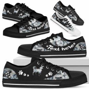 LTS-U-Dog-PaisleyNa013-Husky-16@undefined-Husky Dog Lovers Paisley Tennis Shoes Gym Low Top Shoes Gift Men Women. Dog Mom Dog Dad Custom Shoes.