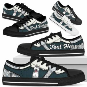 LTS-U-Dog-PaisleyNa013-Husky-36@undefined-Husky Dog Lovers Paisley Tennis Shoes Gym Low Top Shoes Gift Men Women. Dog Mom Dog Dad Custom Shoes.