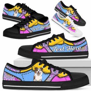 LTS-U-Dog-PastelMandalaNa013-Aussie-0@undefined-Aussie Dog Lovers Pastel Mandala Tennis Shoes Gym Low Top Shoes Gift Men Women. Dog Mom Dog Dad Custom Shoes. Australian Shepherd