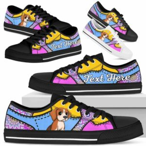LTS-U-Dog-PastelMandalaNa013-Beagle-5@undefined-Beagle Dog Lovers Pastel Mandala Tennis Shoes Gym Low Top Shoes Gift Men Women. Dog Mom Dog Dad Custom Shoes.