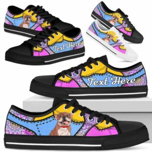 LTS-U-Dog-PastelMandalaNa013-Bulldog-14@undefined-Bulldog Dog Lovers Pastel Mandala Tennis Shoes Gym Low Top Shoes Gift Men Women. Dog Mom Dog Dad Custom Shoes.