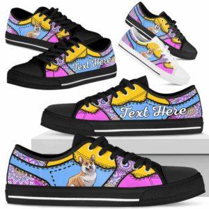 LTS-U-Dog-PastelMandalaNa013-Corgi-18@undefined-Corgi Dog Lovers Pastel Mandala Tennis Shoes Gym Low Top Shoes Gift Men Women. Dog Mom Dog Dad Custom Shoes.