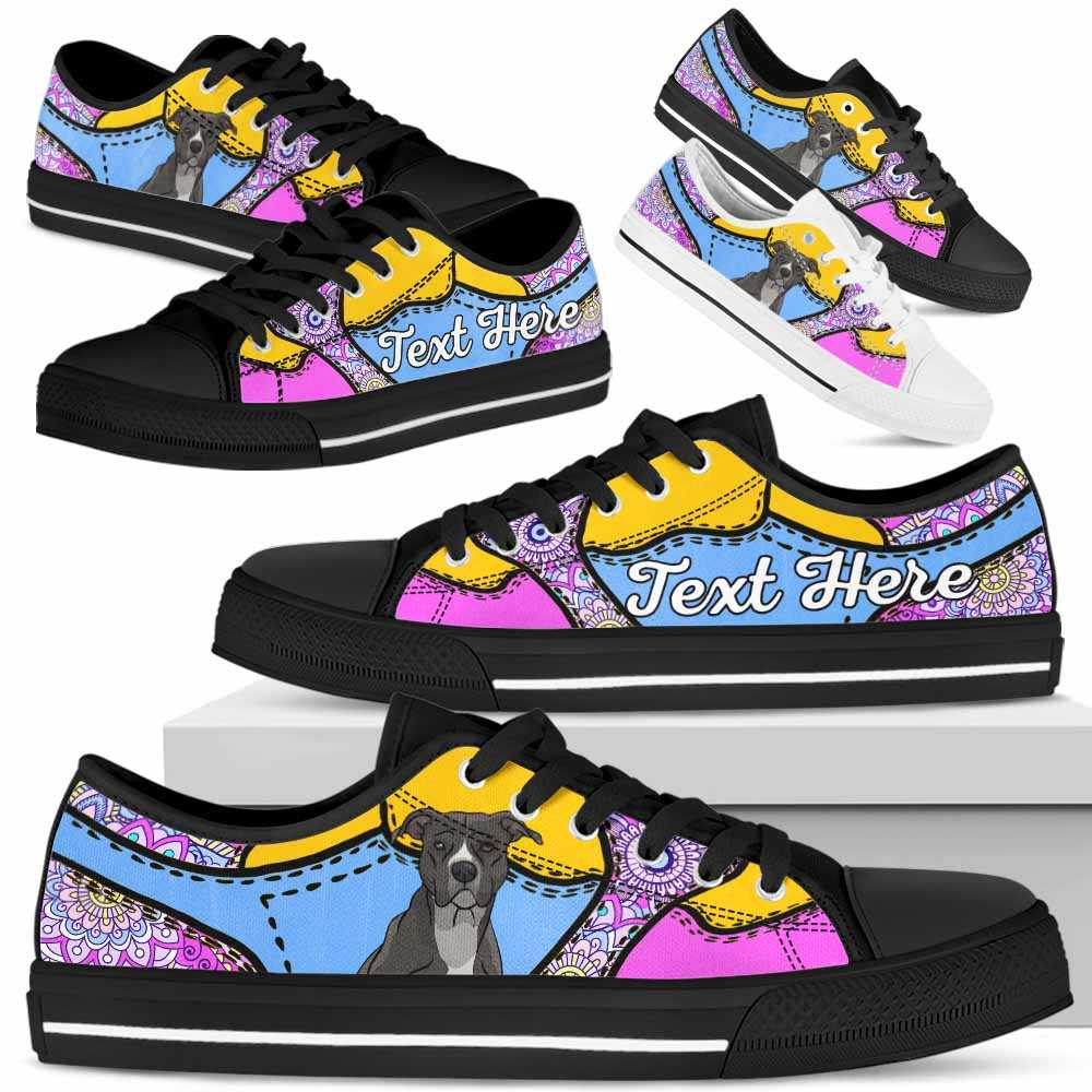 LTS-U-Dog-PastelMandalaNa013-PBul-41@undefined-Pit Bull Dog Lovers Pastel Mandala Tennis Shoes Gym Low Top Shoes Gift Men Women. Dog Mom Dog Dad Custom Shoes.