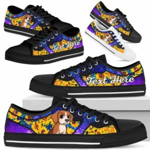 LTS-U-Dog-SunflowerGalaxyNa013-Beagle-5@undefined-Beagle Dog Lovers Sunflower Galaxy Tennis Shoes Gym Low Top Shoes Gift Men Women. Dog Mom Dog Dad Custom Shoes.