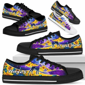 LTS-U-Dog-SunflowerGalaxyNa013-Boxer-4@undefined-Boxer Dog Lovers Sunflower Galaxy Tennis Shoes Gym Low Top Shoes Gift Men Women. Dog Mom Dog Dad Custom Shoes.