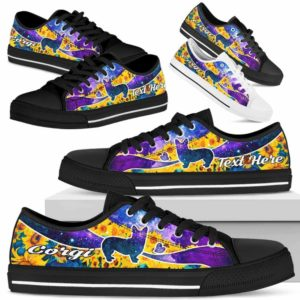 LTS-U-Dog-SunflowerGalaxyNa013-Corgi-8@undefined-Corgi Dog Lovers Sunflower Galaxy Tennis Shoes Gym Low Top Shoes Gift Men Women. Dog Mom Dog Dad Custom Shoes.