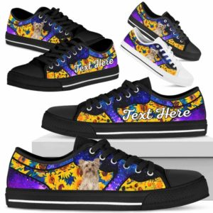 LTS-U-Dog-SunflowerGalaxyNa013-Yorkie-65@undefined-Yorkie Dog Lovers Sunflower Galaxy Tennis Shoes Gym Low Top Shoes Gift Men Women. Dog Mom Dog Dad Custom Shoes. Yorkshire Terrier
