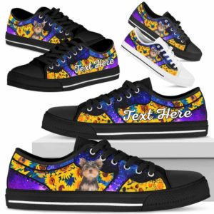 LTS-U-Dog-SunflowerGalaxyNa013-Yorkie-66@undefined-Yorkie Dog Lovers Sunflower Galaxy Tennis Shoes Gym Low Top Shoes Gift Men Women. Dog Mom Dog Dad Custom Shoes. Yorkshire Terrier