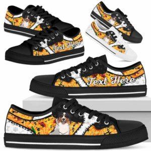 LTS-U-Dog-SunflowerNa013-Aussie-1@undefined-Aussie Dog Lovers Sunflower Tennis Shoes Gym Low Top Shoes Gift Men Women. Dog Mom Dog Dad Custom Shoes. Australian Shepherd
