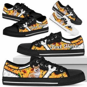 LTS-U-Dog-SunflowerNa013-Corgi-18@undefined-Corgi Dog Lovers Sunflower Tennis Shoes Gym Low Top Shoes Gift Men Women. Dog Mom Dog Dad Custom Shoes.