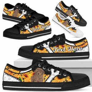 LTS-U-Dog-SunflowerNa013-Poodle-51@undefined-Poodle Dog Lovers Sunflower Tennis Shoes Gym Low Top Shoes Gift Men Women. Dog Mom Dog Dad Custom Shoes.