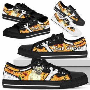 LTS-U-Dog-SunflowerNa013-Pug-53@undefined-Pug Dog Lovers Sunflower Tennis Shoes Gym Low Top Shoes Gift Men Women. Dog Mom Dog Dad Custom Shoes.