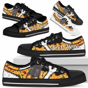 LTS-U-Dog-SunflowerNa013-Pug-54@undefined-Pug Dog Lovers Sunflower Tennis Shoes Gym Low Top Shoes Gift Men Women. Dog Mom Dog Dad Custom Shoes.