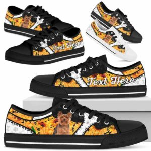 LTS-U-Dog-SunflowerNa013-Yorkie-64@undefined-Yorkie Dog Lovers Sunflower Tennis Shoes Gym Low Top Shoes Gift Men Women. Dog Mom Dog Dad Custom Shoes. Yorkshire Terrier