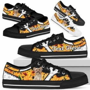 LTS-U-Dog-SunflowerNa013-Yorkie-65@undefined-Yorkie Dog Lovers Sunflower Tennis Shoes Gym Low Top Shoes Gift Men Women. Dog Mom Dog Dad Custom Shoes. Yorkshire Terrier