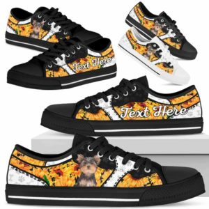 LTS-U-Dog-SunflowerNa013-Yorkie-66@undefined-Yorkie Dog Lovers Sunflower Tennis Shoes Gym Low Top Shoes Gift Men Women. Dog Mom Dog Dad Custom Shoes. Yorkshire Terrier