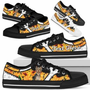 LTS-U-Dog-SunflowerNa013-Yorkie-67@undefined-Yorkie Dog Lovers Sunflower Tennis Shoes Gym Low Top Shoes Gift Men Women. Dog Mom Dog Dad Custom Shoes. Yorkshire Terrier