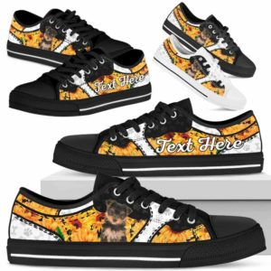 LTS-U-Dog-SunflowerNa013-Yorkie-68@undefined-Yorkie Dog Lovers Sunflower Tennis Shoes Gym Low Top Shoes Gift Men Women. Dog Mom Dog Dad Custom Shoes. Yorkshire Terrier