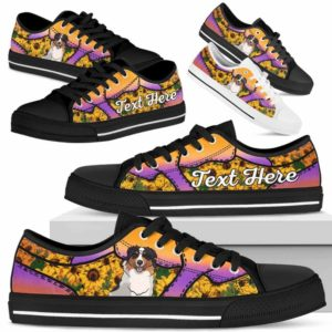 LTS-U-Dog-SunflowerNa023-Aussie-1@undefined-Aussie Dog Lovers Sunflower Tennis Shoes Gym Low Top Shoes Gift Men Women. Dog Mom Dog Dad Custom Shoes. Australian Shepherd