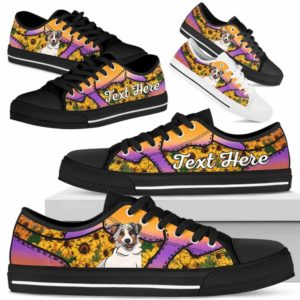 LTS-U-Dog-SunflowerNa023-Aussie-2@undefined-Aussie Dog Lovers Sunflower Tennis Shoes Gym Low Top Shoes Gift Men Women. Dog Mom Dog Dad Custom Shoes. Australian Shepherd