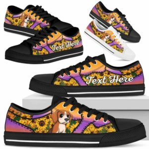 LTS-U-Dog-SunflowerNa023-Beagle-5@undefined-Beagle Dog Lovers Sunflower Tennis Shoes Gym Low Top Shoes Gift Men Women. Dog Mom Dog Dad Custom Shoes.