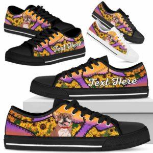 LTS-U-Dog-SunflowerNa023-Bulldog-14@undefined-Bulldog Dog Lovers Sunflower Tennis Shoes Gym Low Top Shoes Gift Men Women. Dog Mom Dog Dad Custom Shoes.