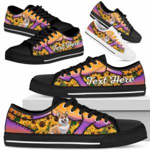 LTS-U-Dog-SunflowerNa023-Corgi-18@undefined-Corgi Dog Lovers Sunflower Tennis Shoes Gym Low Top Shoes Gift Men Women. Dog Mom Dog Dad Custom Shoes.