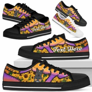 LTS-U-Dog-SunflowerNa023-Heeler-35@undefined-Heeler Dog Lovers Sunflower Tennis Shoes Gym Low Top Shoes Gift Men Women. Dog Mom Dog Dad Custom Shoes. Australian Cattle