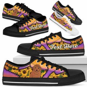 LTS-U-Dog-SunflowerNa023-Poodle-45@undefined-Poodle Dog Lovers Sunflower Tennis Shoes Gym Low Top Shoes Gift Men Women. Dog Mom Dog Dad Custom Shoes.