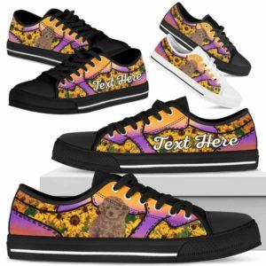 LTS-U-Dog-SunflowerNa023-Poodle-51@undefined-Poodle Dog Lovers Sunflower Tennis Shoes Gym Low Top Shoes Gift Men Women. Dog Mom Dog Dad Custom Shoes.