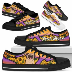 LTS-U-Dog-SunflowerNa023-Pug-52@undefined-Pug Dog Lovers Sunflower Tennis Shoes Gym Low Top Shoes Gift Men Women. Dog Mom Dog Dad Custom Shoes.